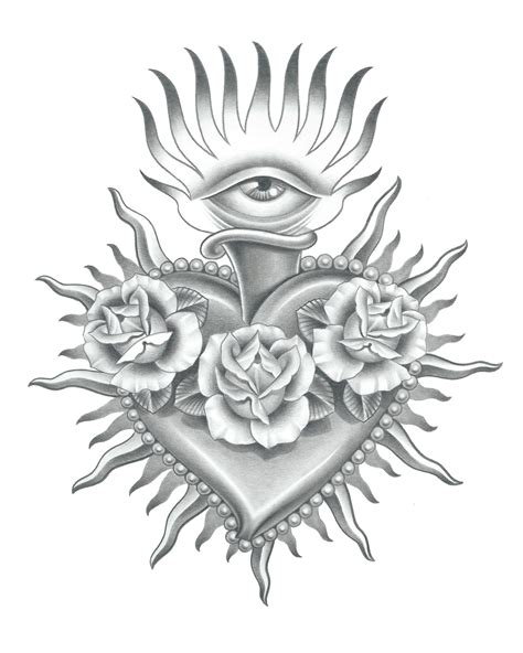 sacred heart tattoo design realistic sacred drawing search