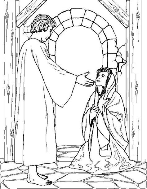 coloring page of angel visiting mary nel giardino degli angeli catechismo disegni