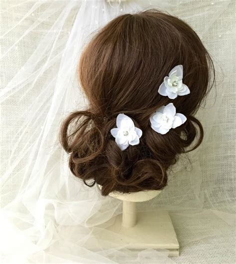 Bridal Rhinestone Flower Hair Pin white flower bridal hair pins wedding hair accessory