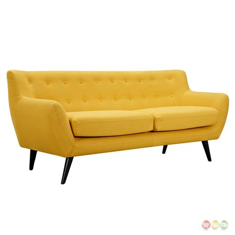 Ida Modern Yellow Button Tufted Upholstered Sofa With Yellow Tufted Sofa