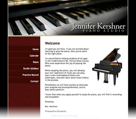 Fredericktown Mount Vernon Ohio Website Design Jennifer Kershner Piano Studio Spire Piano Website Template