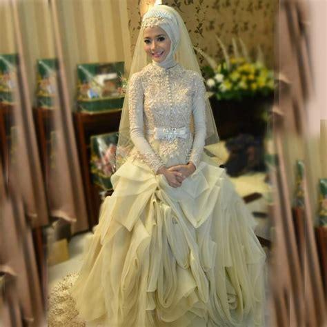 summer style luxury puffy muslim wedding gowns long