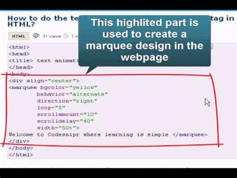 tutorial html marquee html tutorial text animation with marquee tag youtube