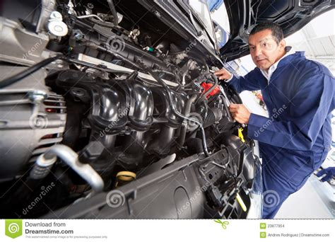 mechanic fixing  car stock photo image  engineer