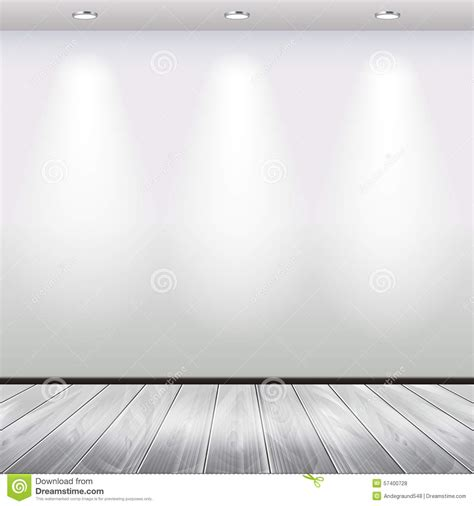 empty interior with white wall and lights vector stock