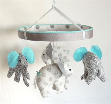elephant mobile aqua grey crib mobile elephant mobile nursery mobile via