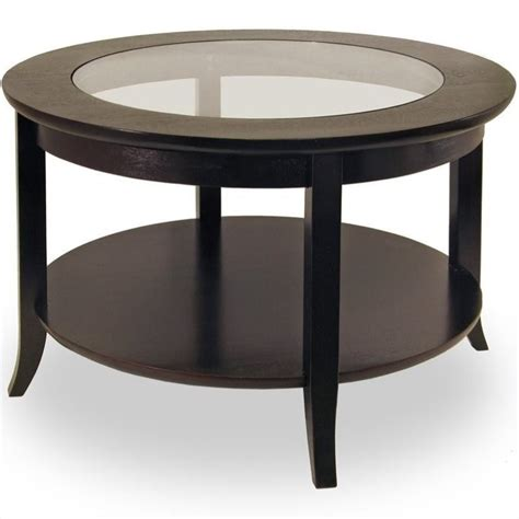 coffee table genoa round wood coffee table with glass top in dark espresso 92219
