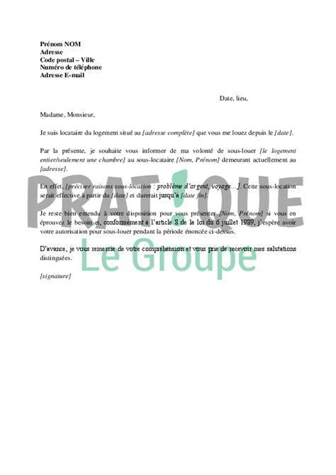 Demande De Location Lettre Lettre De Demande D Autorisation De Sous Location 224 Propri 233 Taire Pratique Fr