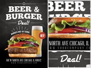 beer and burger offer flyer template flyerheroes