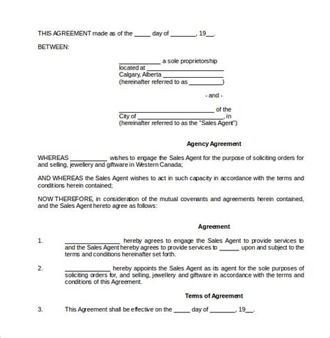 commission agreement template commission contract template 9 free documents