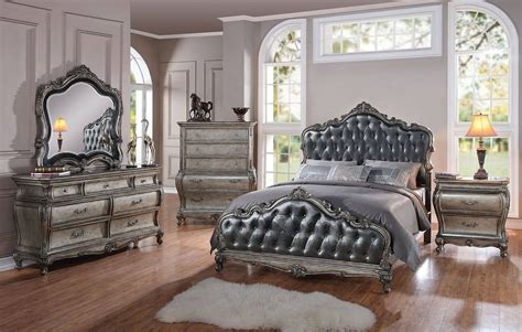 acme bedroom furniture acme 4 pc chantelle bedroom set antique platinum