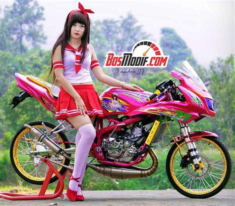 Modifikasi Rr Warna Pink by Modifikasi Motor Kawasaki Dan Cewek Warna Pink Merah