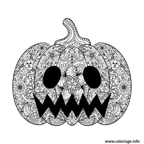 detailed pumpkin coloring page coloriage adulte halloween scary citrouille dessin