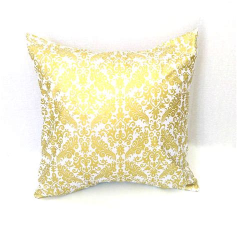 Gold And White Throw Pillows by White And Gold Damask Pillow Cover Throw Pillow Cover