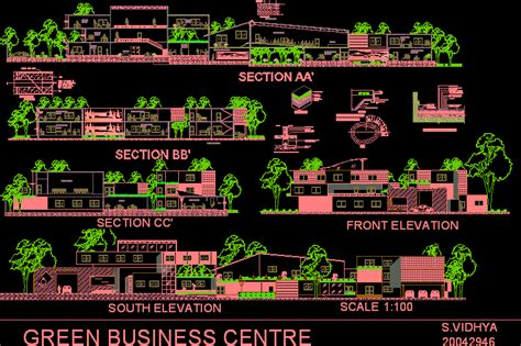 green business center dwg block  autocad designs cad