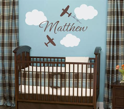 bedroom using baby boy wall decals for nursery interior