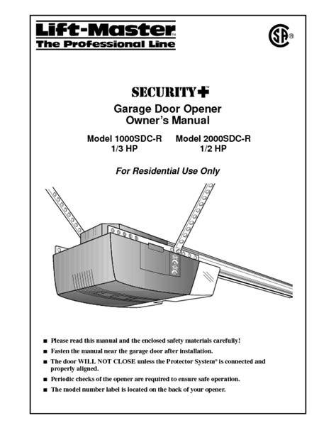 Garage Door Opener Users Guides Quot Garage Door Opener Overhead Door Manual