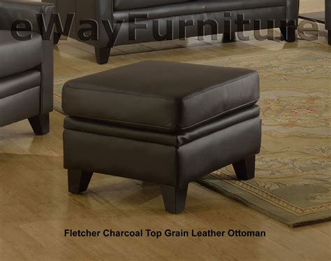 top grain leather chair and ottoman fletcher charcoal top grain leather sofa