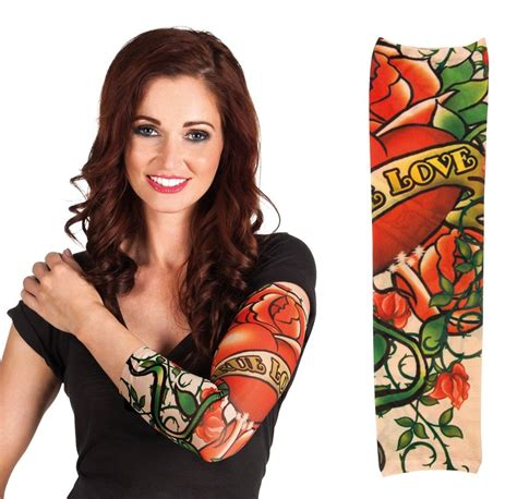 tattoo girl costume tattoo sleeve fake stretch nylon sleeves temporary fancy