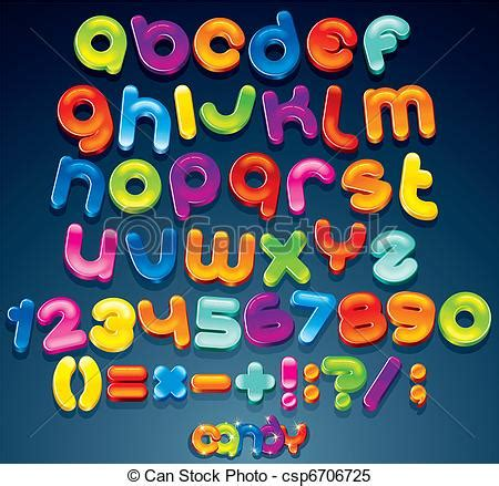 fun candy font multicolored shiny vector font
