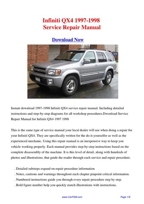 service manual 1997 infiniti i free service manual download free 2000 infiniti i online infiniti qx4 1997 1998 repair manual by gong dang issuu