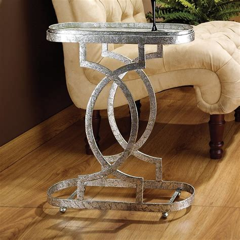 silver metal end table shop design toscano silver metal industrial end table at