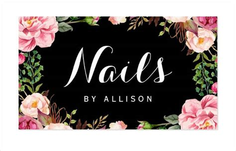 nail salon business card templates word ai psd