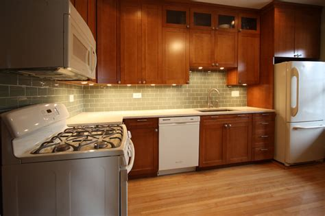 Green Subway Tile Kitchen Backsplash White And Cherry Wood Kitchen Remodel Contemporary
