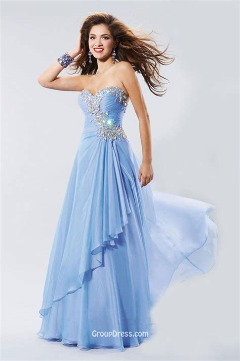 sweetheart beaded prom dress pretty a line strapless sweetheart beaded blue
