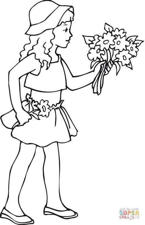 Coloriage - Jeune fille tient un bouquet de fleurs