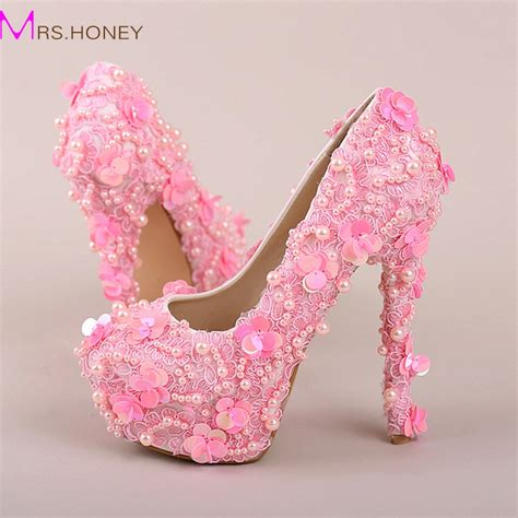 Beautiful Wedding Heels by Pink Pearl Sequins Lace Wedding Shoes High Heels Platform