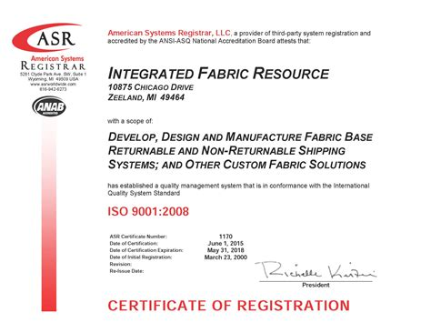 upholstery certificate iso certification integrated fabric resource