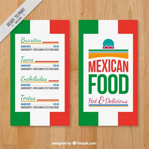 menu template with mexican colors vector free