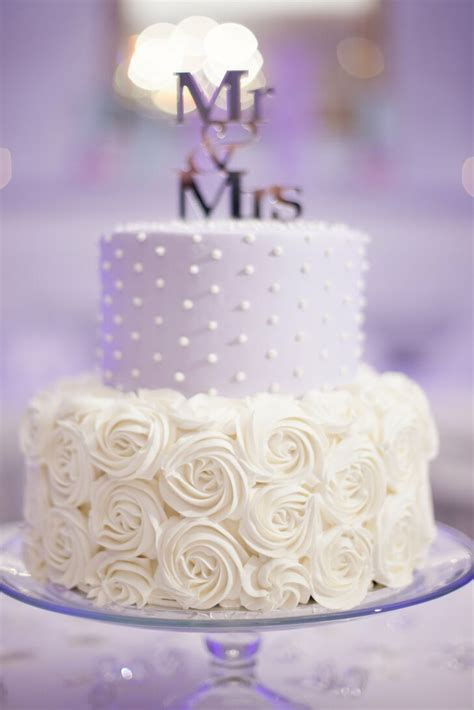 lavender  white wedding cake