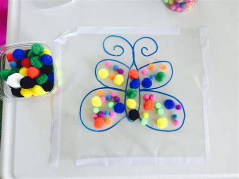 decorate butterfly with pompoms activities for 1 5 year