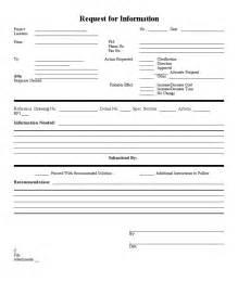 rfi forms template blank sle rfi form