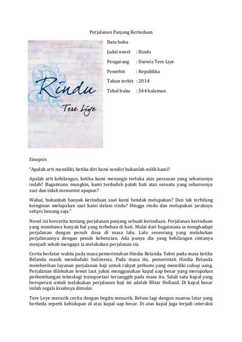 Buku Novel Rindu Tere Liye Republika Yi resensi novel tere liye rindu