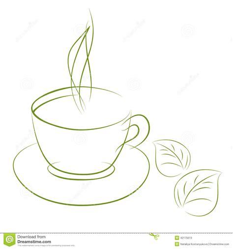 doodle sketch green tea stock vector image 42175613