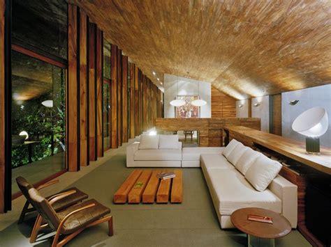 wooden house interior  open room style  ideas