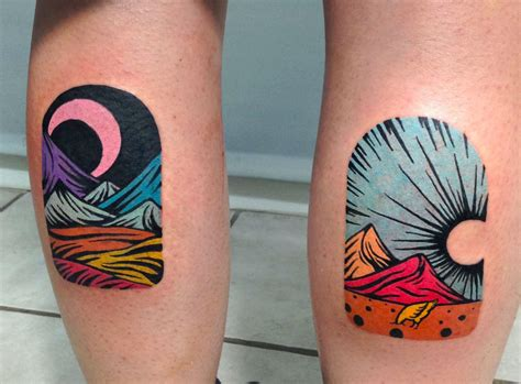 night and day tattoo trippy linocut tattoos by dusty past scene360