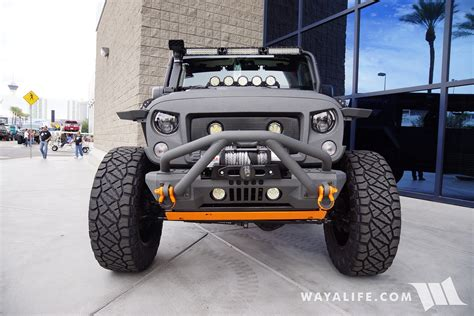 gray jeep 2017 2016 sema starwood custom gray orange jeep jk wrangler