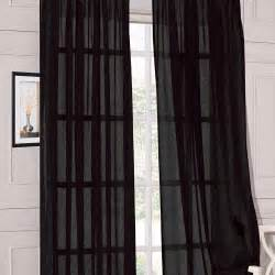 Black Window Curtains Brand New 2pcs 58 Quot X 84 Quot Black Solid Soft Sheer Voile Window Panels Curtains Ebay