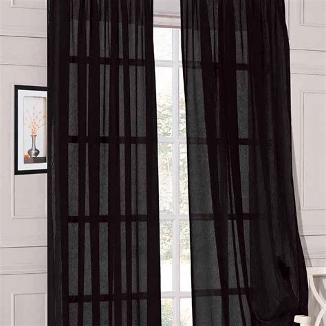 Brand New 2pcs 58 Quot X 84 Quot Black Solid Soft Sheer Voile