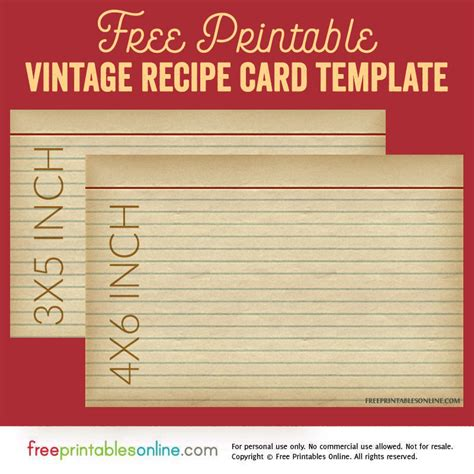 card template vintage vintage recipe card template free printables