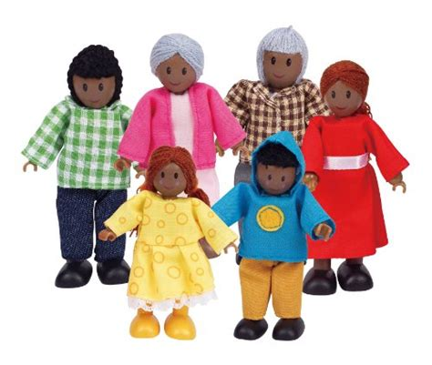 wooden doll house people multicultural play figures colours of us