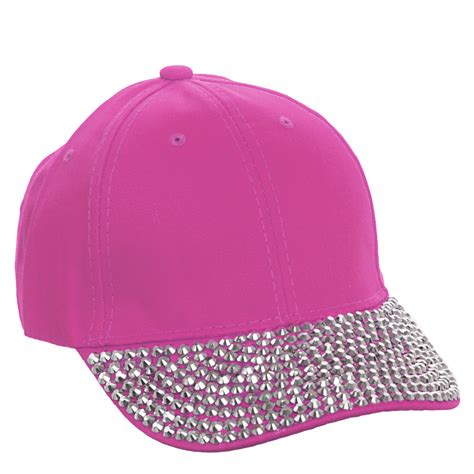 Studded Baseball Cap studded rhinestone brim adjustable cotton