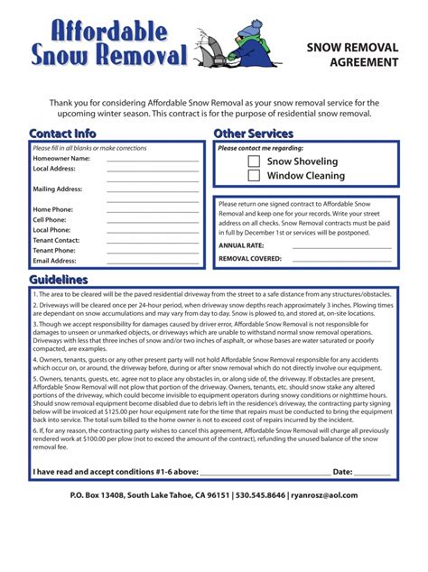 snow removal contract template forms