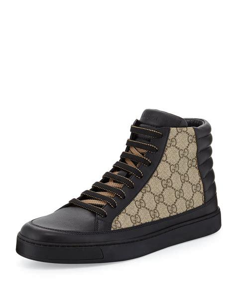 gucci leather high top sneaker black gucci common leather high top sneaker in black lyst