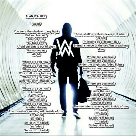 alan walker songs alan walker faded lyric lyrics song pinterest alan