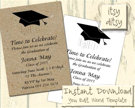 graduation invitation template with a mortarboard design